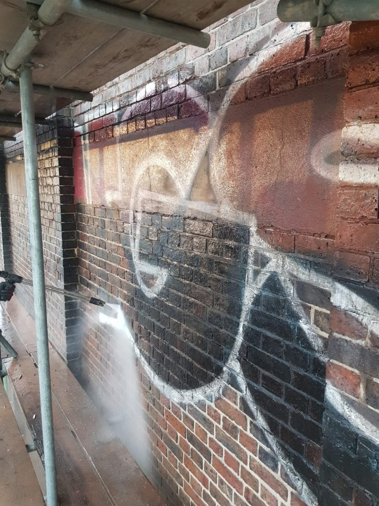 High Level Graffiti Removal From Brick & Stone In London